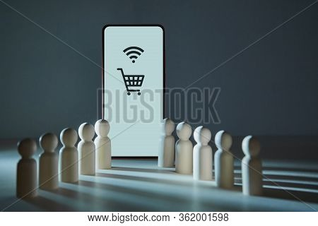 Smartphone Screen With Shopping Cart, Wifi Signs. Internet Marketing, E-shopping. Online Purchasing