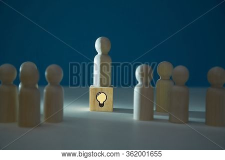 Creative Idea, Innovation. Think Outside Box. Person Creation. Lateral Thinking. Leader Figure On Cu