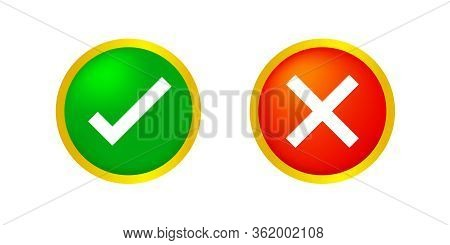 Check Mark And X Or Confirm And Deny Circle Icon Button 3d For Apps And Websites Symbol, Icon Checkm