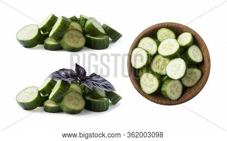 Sliced Cucumber Isolated On White. Cucumbers With Oregano Leaf With Copy Space For Text. Сucumber Sl