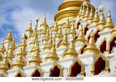 Samphutthe Chedi Near Wat Mani Phraison, Mae Sot, Tak, Thailand. This Chedi Is Surrounded By 233 Sma