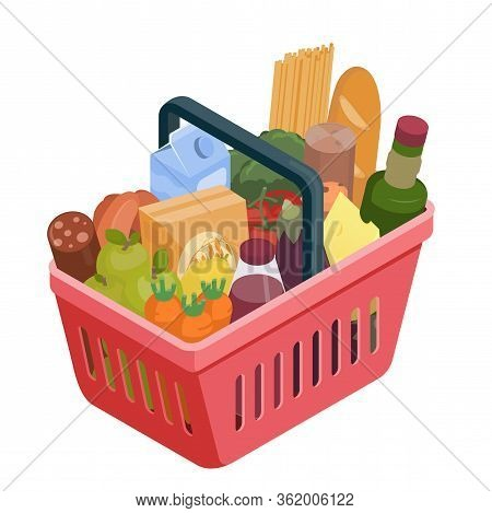 Red Shopping Basket With Different Food Isometric Illustration. Stock Vector. Grocery Shopping, Supe
