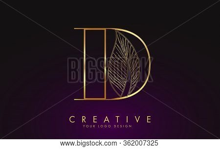 Outline Golden Letter D Logo Icon With Wired Leaf Concept Design. Letter D With Nature Concept. Eco