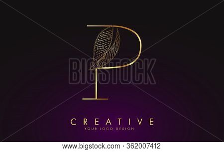 Outline Golden Letter P Logo Icon With Wired Leaf Concept Design. Letter P With Nature Concept. Eco