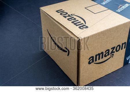 Kuala Lumpur, Malaysia - April 1, 2020 : Amazon Prime Box Or Amazon Shipping Box On Black Background