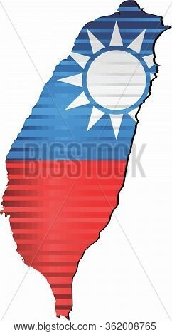 Shiny Grunge Map Of The Taiwan - Illustration,  Three Dimensional Map Of Taiwan