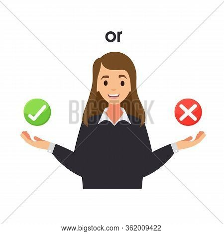 Right Or Wrong Choice. True Or False. Woman Decision Between Right And Wrong. Making Choice, Difficu