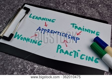 Apprenticeship Text With Keywords On A Paperwork. Chart Or Mechanism Concept.