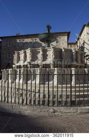 Perugia, Italy - December 10 2016: Fontana Maggiore Fountain In Perugia City