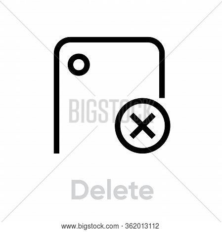 Delete Phone Camera Icon. Editable Line Vector.