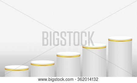 Pedestal Cylinder Circle Five Steps For Cosmetics Showcase, Podium Circle Stage White Grey And Gold