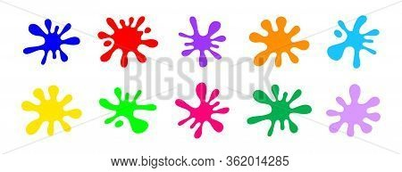 Colorful Blob Colors Isolated On White Background, Primary Colors For Children Learning Art, Drop Sp