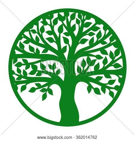 Vector Tree Of Life In A Round Frame. Green Trunk, Branches And Leaves. Design Element For Plotter C