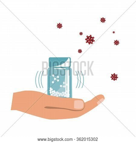 Hand With Homeopathy Medicines Bottle Isolated On A White Background. Homeopathic Granules Against V