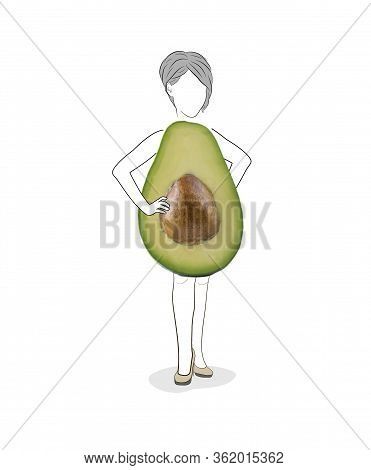 Avocado Featuring Women's Shape. Figure Of A Young Women Isolated On White Background. Types Of Fema