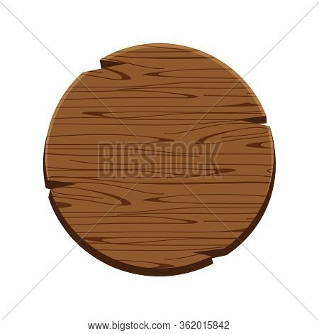 Circle Wood Oak Sign Isolated On White, Round Wooden Sign Old, Signboard Wood Curved, Circle Wood Pa