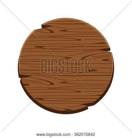 Circle Wood Oak Sign Isolated On White, Round Wooden Sign Old, Signboard Wood Curved, Circle Wood Pa