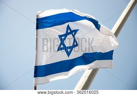Israel Flag, Independent Day Of Israel. Israel Flag On A Sky.