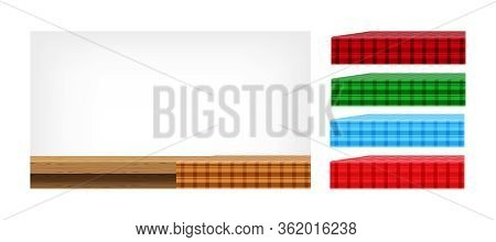 Wood Table And Collection Tablecloth For Design Edit, Front View Copy Space, Empty Plank Top And Bro