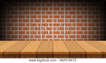 Empty Wood Table, Retro Wall Brick For Copy Space, Counter Wood Table On Rustic Wall Brick, Wooden T