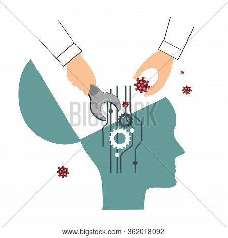 Thought Virus Vector. Widespread Panic, Mental Manipulation, Bad Thought Concept. Human Hand That Op