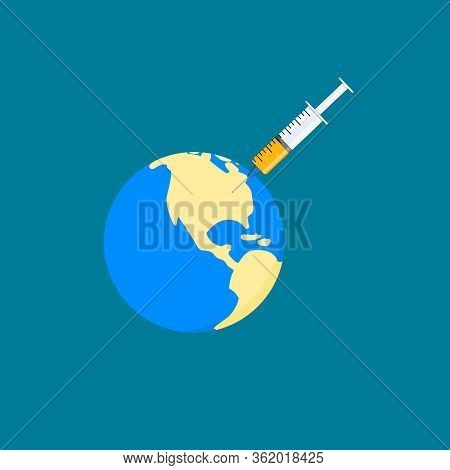 Flat Design World Inject With Vaccine Syring Concept For Coronavirus 2019 Disease (covid-19). Use Fo