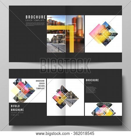 The Vector Illustration Of The Editable Layout Of Two Covers Templates For Square Design Bifold Broc