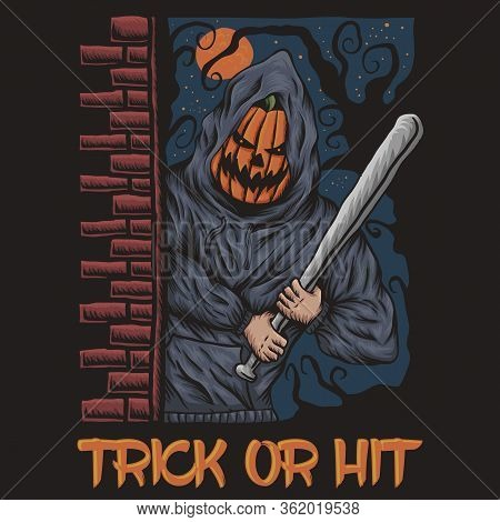 Trick Or Hit Halloween Illustration For Your Company Or Brand