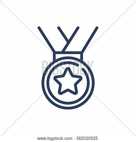 Hanging Medal Thin Line Icon. Honor, Award, Glory, Victory Isolated Outline Sign. Triumph Or Achieve