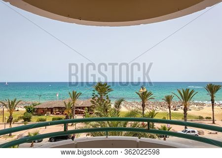 Yasmine Hammamet, Tunisia - July 20 2018: A Street View From Balcony Hotel In Yasmine Hammamet, Beac