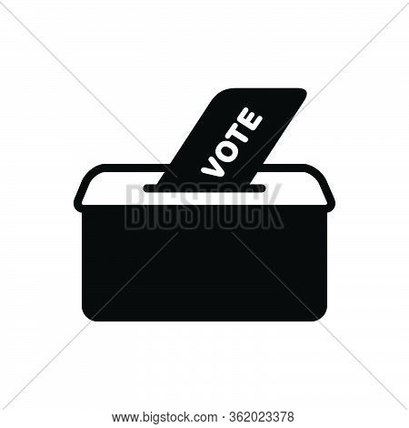 Black Solid Icon For Vote Policies Election Voter Ballot Box