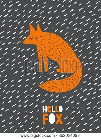 Funny Abstract Wall Art With Cute Dreamy Fox. Lovely Hand Drawn Nursery Vector Art. Orange Fox Isola
