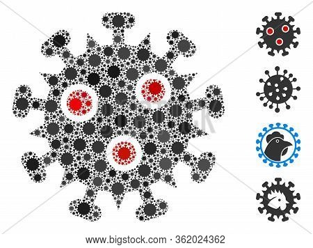 Collage Sars Virus United From Coronavirus Icons In Variable Sizes And Color Hues. Vector Pathogen P