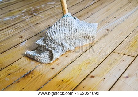 Spring Cleaning Wooden Floor With Soft Soap