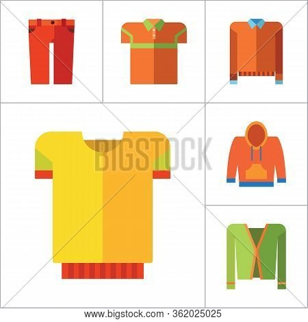 Modern Clothes Icon Set. T-shirt Jeans Bow Tie Hoody Sweatshirt Trousers Pleated Skirt Orange Sweate