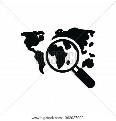 Black Solid Icon For Discover Travel Landmark World