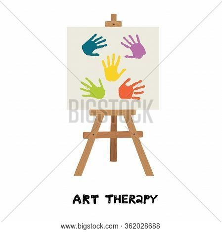 Easel With Canvas Painted With Children Handprints. Art Therapy.