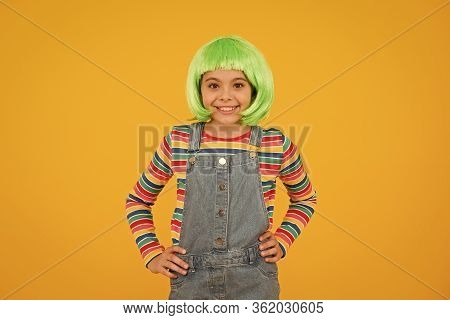 Appeal To Her Creative Style. Happy Girl Wear Short Hair Style Wig Yellow Background. Little Child S