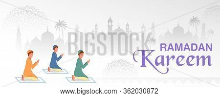 Illustration Of People Celebrating Ramadan Kareem Generous Ramadan Of Islam Religious Holiday Festiv