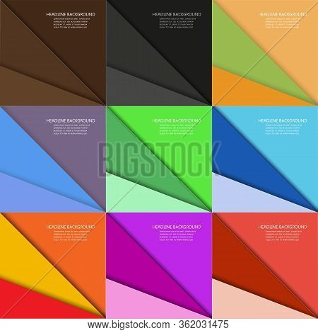 Set Of Multi-colored Vector Backgrounds Made Of Triangular Geometric Elements, Collection Of Trendy