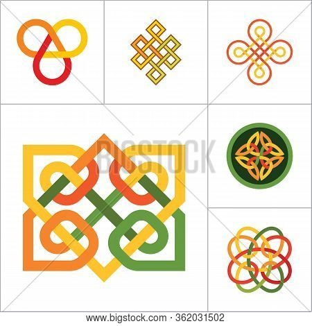 Pattern Icon Set. Hexagon Element Infinite Knot Traditional Knot Chinese Amulet Round Pattern Creati