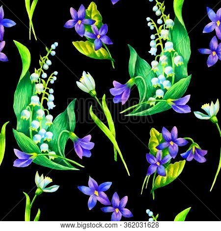 Spring Flowers: Snowdrop, May-lilly, Viola  Seamless Pattern, Hand Paint Watercolor Illustration, Te