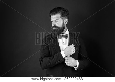 Wedding Day Concept. Stylish Groom. Elegant Collection. Neat And Tidy. Stylist Fashion Expert. Suit