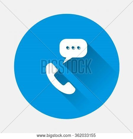 Handset Vector Icon. Phone Icon In Flat Style Icon On Blue Background. Flat Image With Long Shadow.
