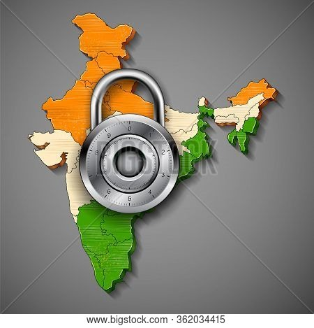 Illustration Of Lock On India Map Showing India Lockdown Due To Deadly Novel Coronavirus 19 Epidemic