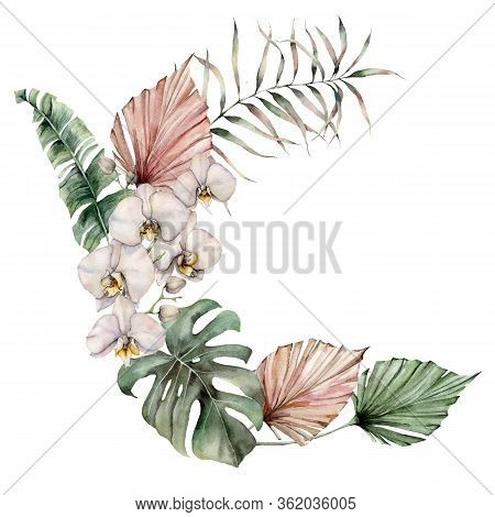 Watercolor Wreath With White Orchids, Monstera And Palm Leaves. Hand Painted Tropical Card With Flow