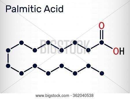 Palmitic Acid Or Hexadecanoic, C16h32o2 Molecule. It Is Saturated Fatty Acid. Structural Chemical Fo