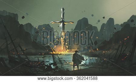 A Warrior Standing At The Abandoned Port And Looking At The Broken Giant Sword, Digital Art Style, I