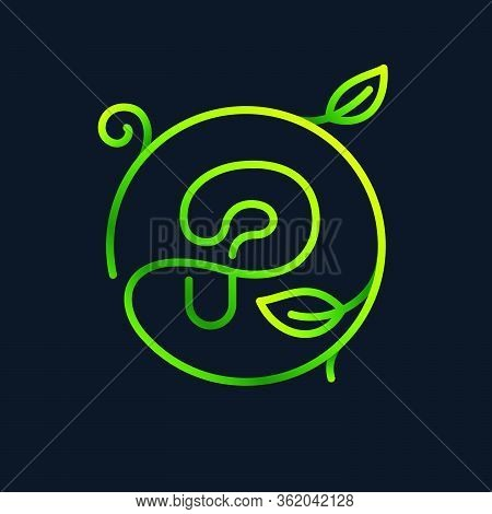 P Letter Leaf Logo In A Circle. Impossible One Line Style. Perfect Green Icon For Environment Labels