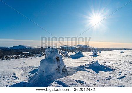 Winter Lapland Region With Morning Sun Light.